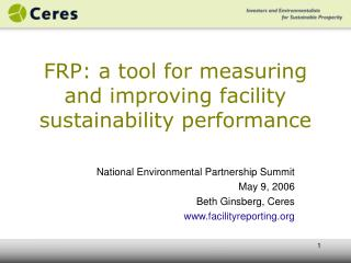FRP: a tool for measuring and improving facility sustainability performance