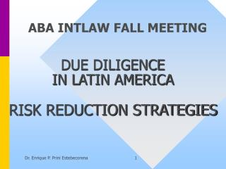 DUE DILIGENCE  IN LATIN AMERICA  RISK REDUCTION STRATEGIES
