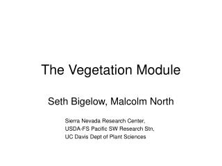 The Vegetation Module