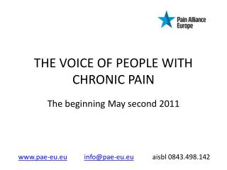 THE VOICE OF PEOPLE WITH CHRONIC PAIN