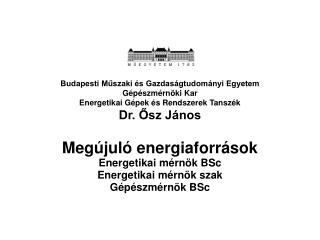 Megújuló energiaforrások Energetikai mérnök BSc Energetikai mérnök szak Gépészmérnök BSc