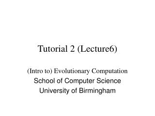 Tutorial 2 (Lecture6)