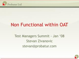 Non Functional within OAT