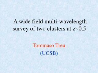 A wide field multi-wavelength survey of two clusters at z~0.5
