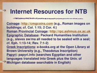 Internet Resources for NTB