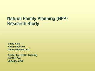 Natural Family Planning (NFP) Research Study