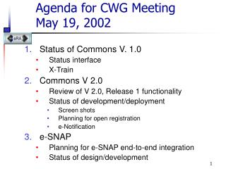 Agenda for CWG Meeting  May 19, 2002