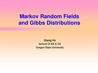 Markov Random Fields  and Gibbs Distributions