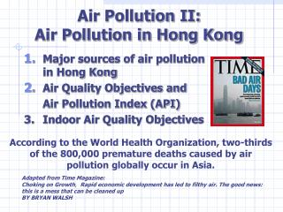 Air Pollution II:  Air Pollution in Hong Kong