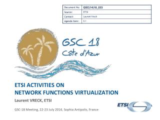 ETSI activities  on Network Functions Virtualization