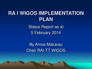 RA I WIGOS IMPLEMENTATION PLAN