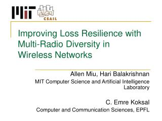 Improving Loss Resilience with Multi-Radio Diversity in  Wireless Networks