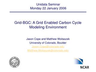 Grid-BGC: A Grid Enabled Carbon Cycle Modeling Environment