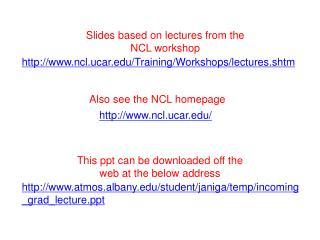 ncl.ucar/Training/Workshops/lectures.shtm