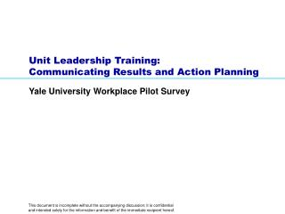 Unit Leadership Training:  Communicating Results and Action Planning