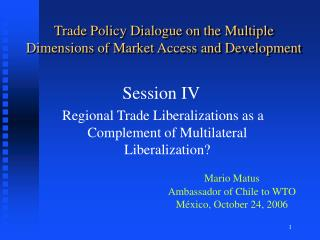Trade Policy Dialogue on the Multiple Dimensions of Market Access and Development