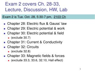 Exam 2 covers Ch. 28-33, Lecture, Discussion, HW, Lab
