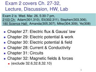 Exam 2 covers Ch. 27-32, Lecture, Discussion, HW, Lab