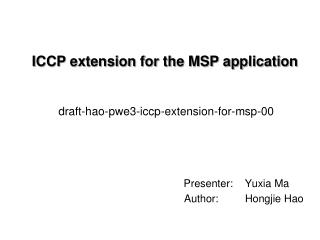 ICCP extension for the MSP application