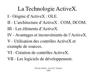 La Technologie ActiveX.