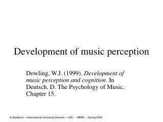 Development of music perception