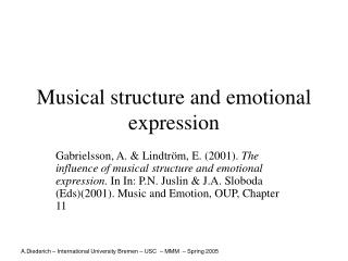 Musical structure and emotional expression