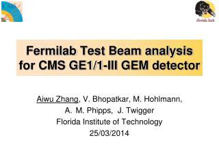 Fermilab  Test Beam analysis for CMS GE1/1-III GEM detector