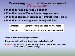 Measuring  w a  in the New experiment D. Hertzog / June 2004