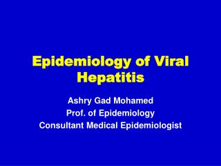 Epidemiology of Viral Hepatitis