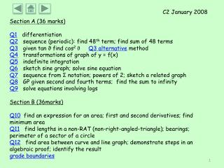 Section A (36 marks) Q1    differentiation