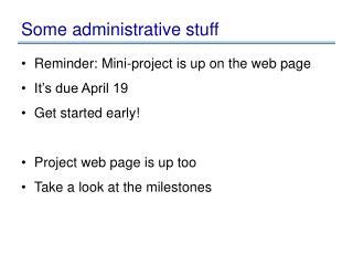 Some administrative stuff