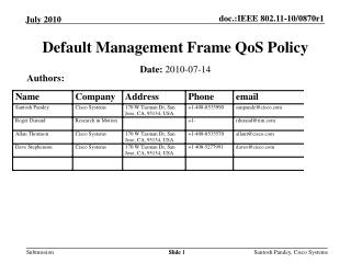 Default Management Frame QoS Policy