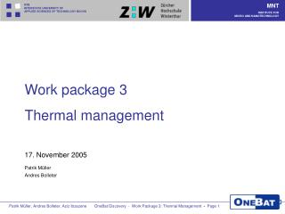 Work package 3  Thermal management