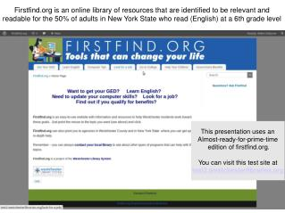 Firstfind is an online library of resources that are identified to be relevant and