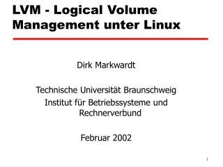 LVM - Logical Volume Management unter Linux