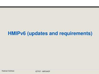 HMIPv6 (updates and requirements)