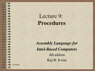 Lecture 9:  Procedures