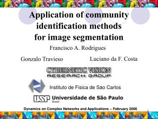 Application of community identification methods  for image segmentation