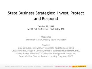 State Business Strategies:  Invest, Protect, Respond