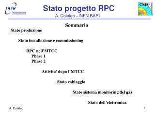 Stato produzione Stato installazione e commissioning RPC nell'MTCC      Phase 1       Phase 2