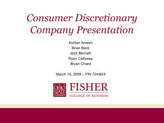 Consumer Discretionary Company Presentation