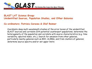 GLAST LAT Science Group:  Unidentified Sources, Population Studies, and Other Galaxies