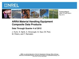 ARRA Material Handling Equipment  Composite Data Products  Data Through Quarter 4 of 2012