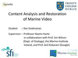 Content Analysis and Restoration of Marine Video