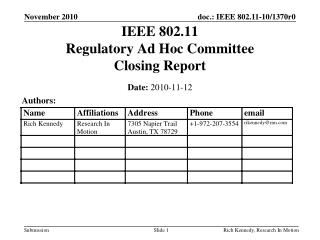 IEEE 802.11 Regulatory Ad Hoc Committee Closing Report
