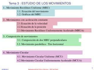 Tema 3 : ESTUDIO DE LOS MOVIMIENTOS