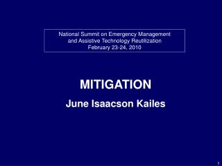National Summit on Emergency Management and Assistive Technology Reutilization