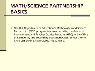 MATH/SCIENCE PARTNERSHIP  BASICS