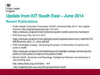 Update from KIT South East – June 2014