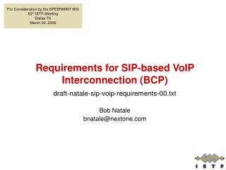 Requirements for SIP-based VoIP Interconnection (BCP)